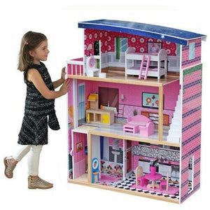 Giant Dream Wooden Doll House Pretend Play House Cottage w/ Furnitures