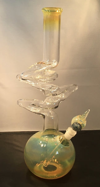 "18"" Tall 4 Bend Silver Fumed Bubble Base Bong - SGS - Oregon Glass"