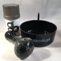 Black and Gray Frit Spoon Pipe Set - SGS - The Breakfast Bowl