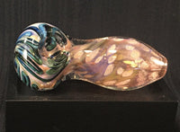 Gold Fumed with Green ZigZag Hand Pipe - SGS - SGS