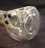 XXL Spoon Pipe - Fumed w White Spiral and Cobalt Marbles - SGS - Curated by Smoker's Gift Shop