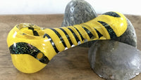 Yellow and Dichro Spiral Hand Pipe with Multi Holes in bowl. - SGS - SGS