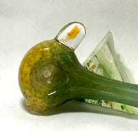 Yellow and Green Fritted Hand Pipe - SGS - Antonio Casale