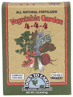 Down to Earth Vegetable Garden Fertilizer 4-4-4, 1 Pound