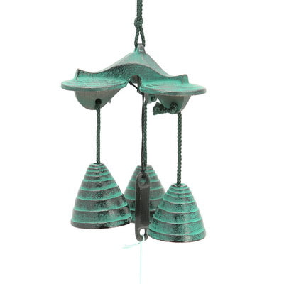 Green 3 Bells Beehive Wind Chime
