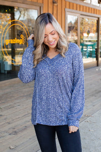 Wavy Navy Puff Sleeve Top
