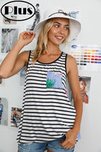 Load image into Gallery viewer, Stripe tank with blue floral back