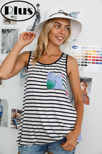 Stripe tank with blue floral back