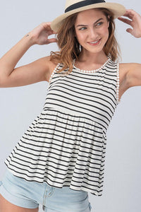Black and white stripe tank with scalloped edge
