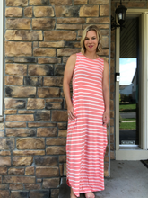 Load image into Gallery viewer, Pink Stripe Maxi dress with slits