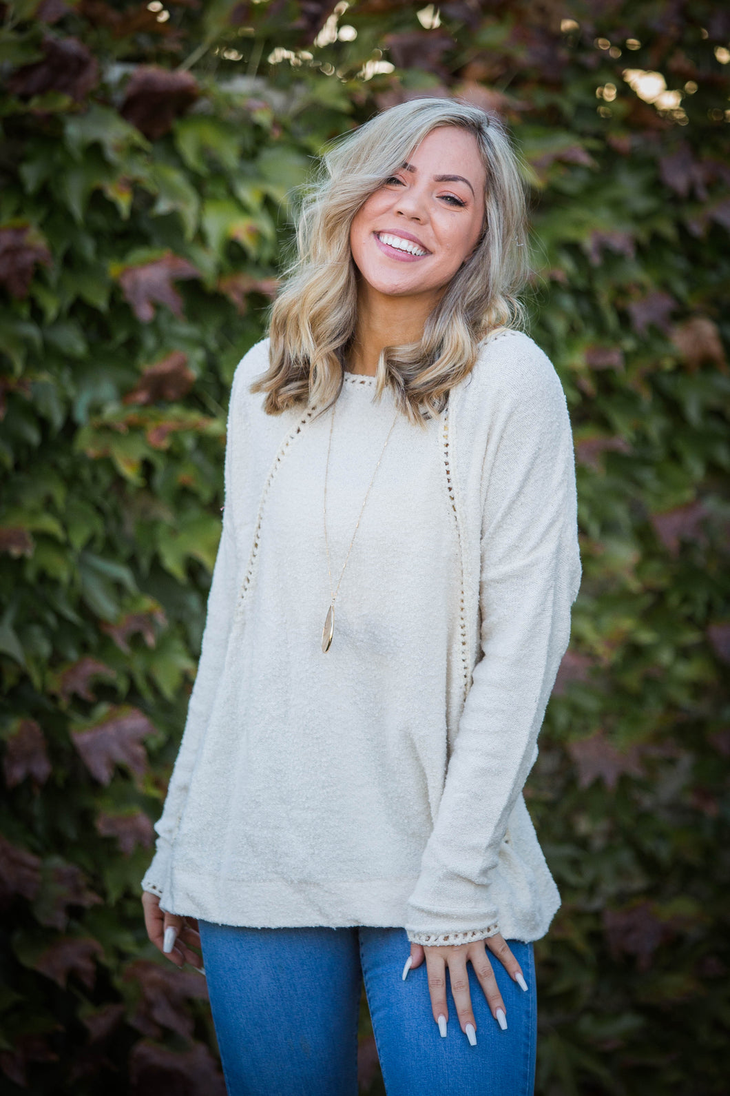 Snow Flutters Textured Sweater