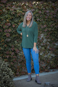Quaint and Comfy 3/4 Sleeve Top in Olive