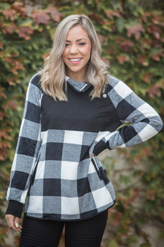 Checked in Fleece Knit Sweater