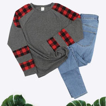 Load image into Gallery viewer, Patched in Plaid Top in Gray