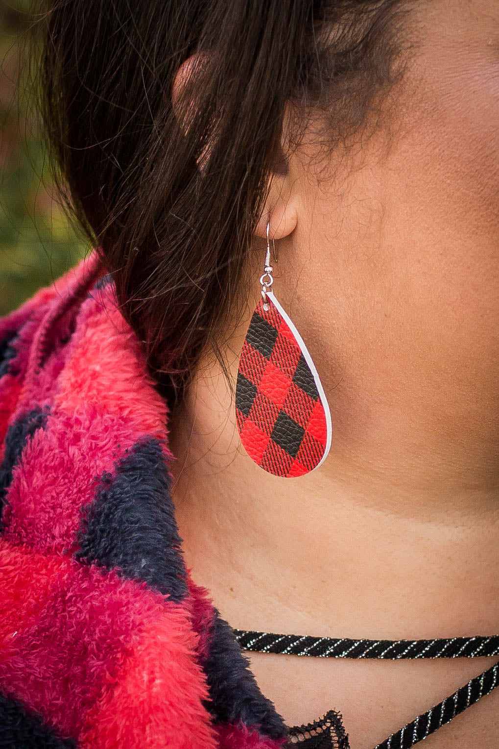 Holiday Plaid Teardrop Leather Earrings