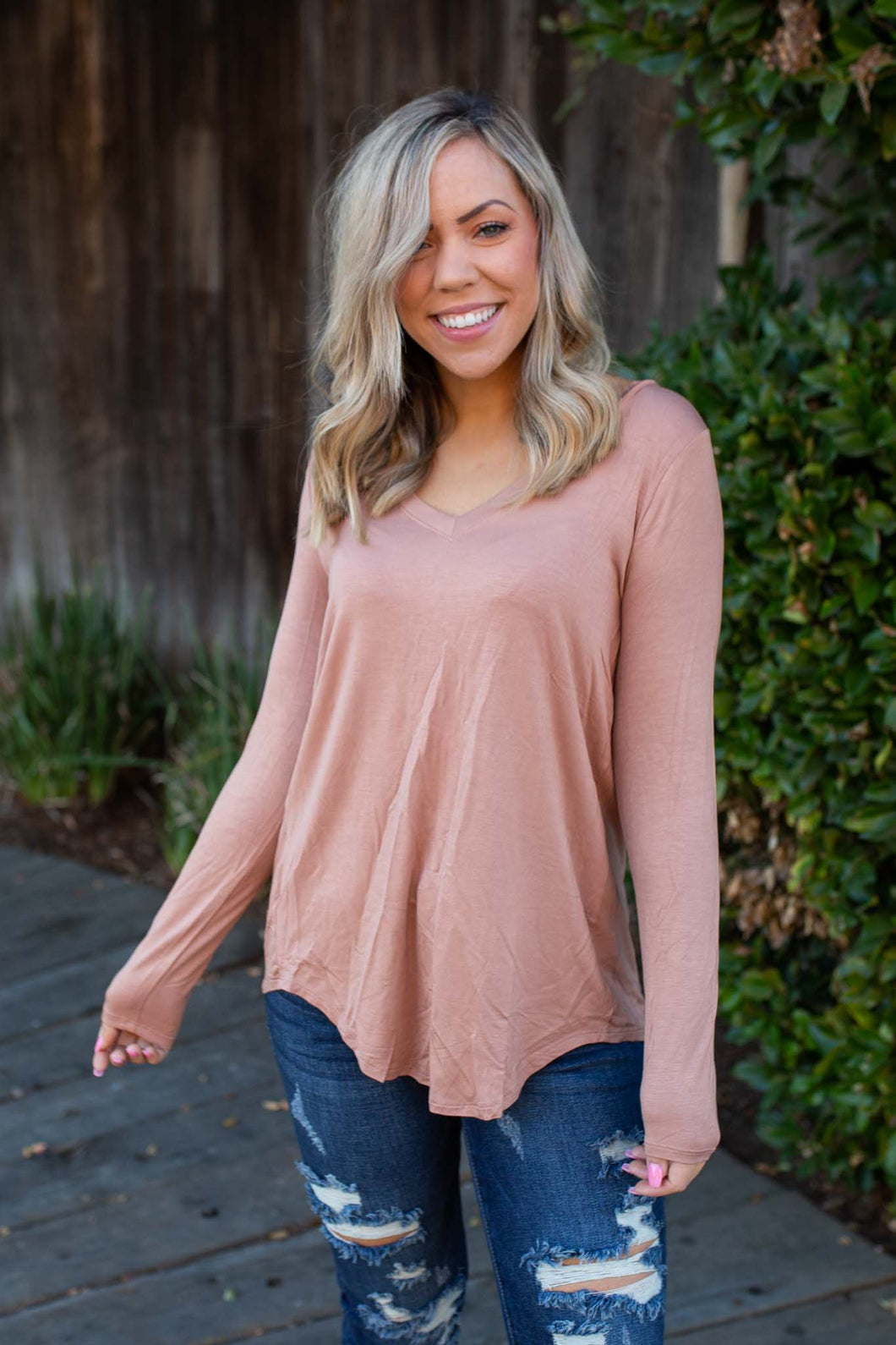 Everyday Long Sleeve Tee in Taupe