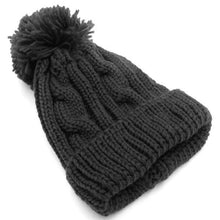 Load image into Gallery viewer, Everyday Black Pompom Beanie