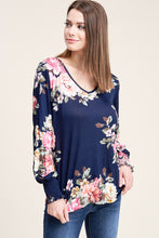 Load image into Gallery viewer, Navy floral long sleeve with smocked wrist