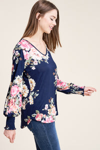 Navy floral long sleeve with smocked wrist