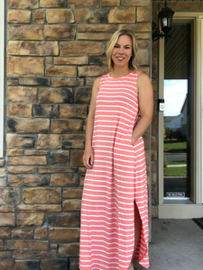 Pink Stripe Maxi dress with slits