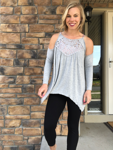 Grey cold shoulder lace top