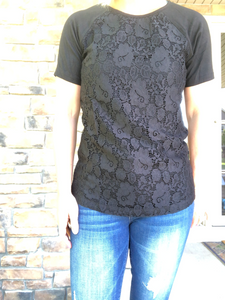 black lace front tee