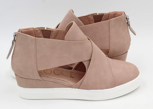 Cut out pink wedge sneakers