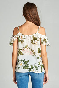 Flower print cold shoulder tee