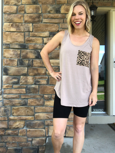 Ash Mocha Tank with leopard pocket
