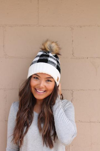Plaid fleece lined Pom Hats