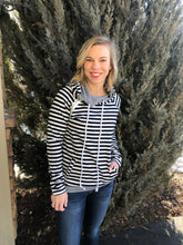 Load image into Gallery viewer, Navy Striped hoodie