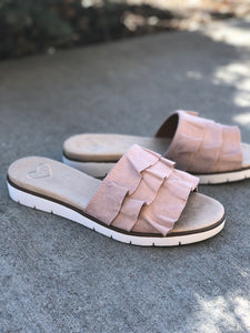 blush ruffle slide on sandal