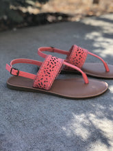 Load image into Gallery viewer, Coral laser cut flip flop