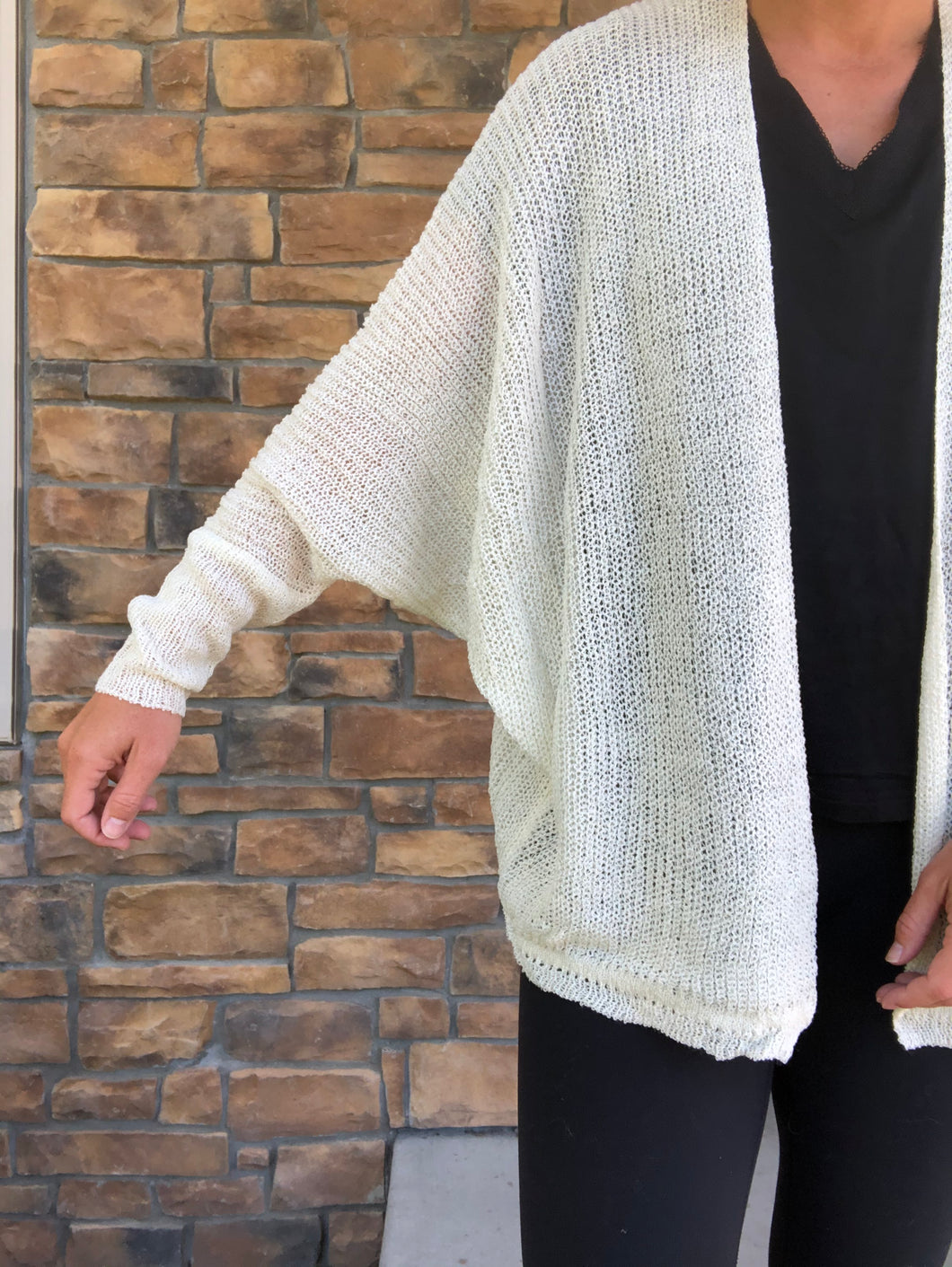 cream dolman open cardigan