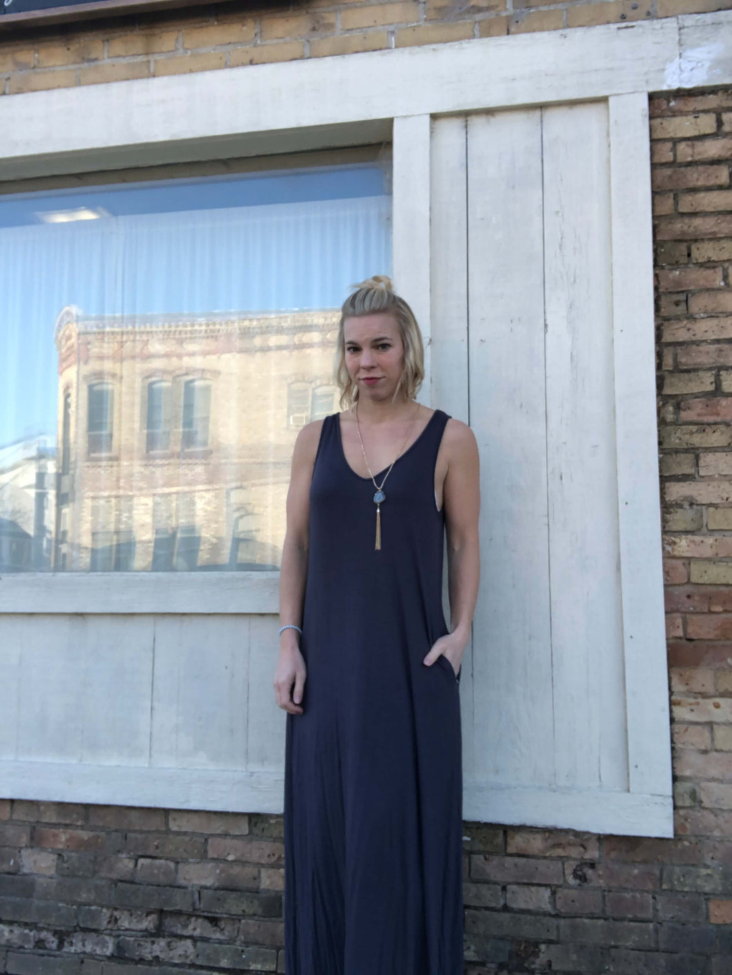 Grey Maxi dress with asymetical hem