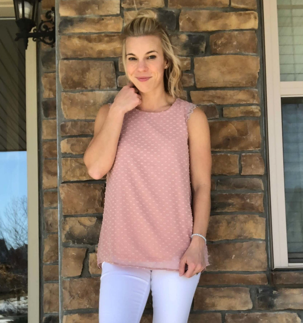 Swiss dot pink tank top