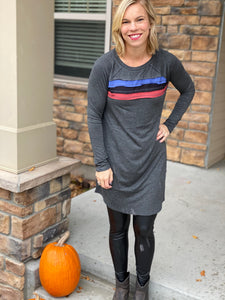 Grey dress with color blocked chest