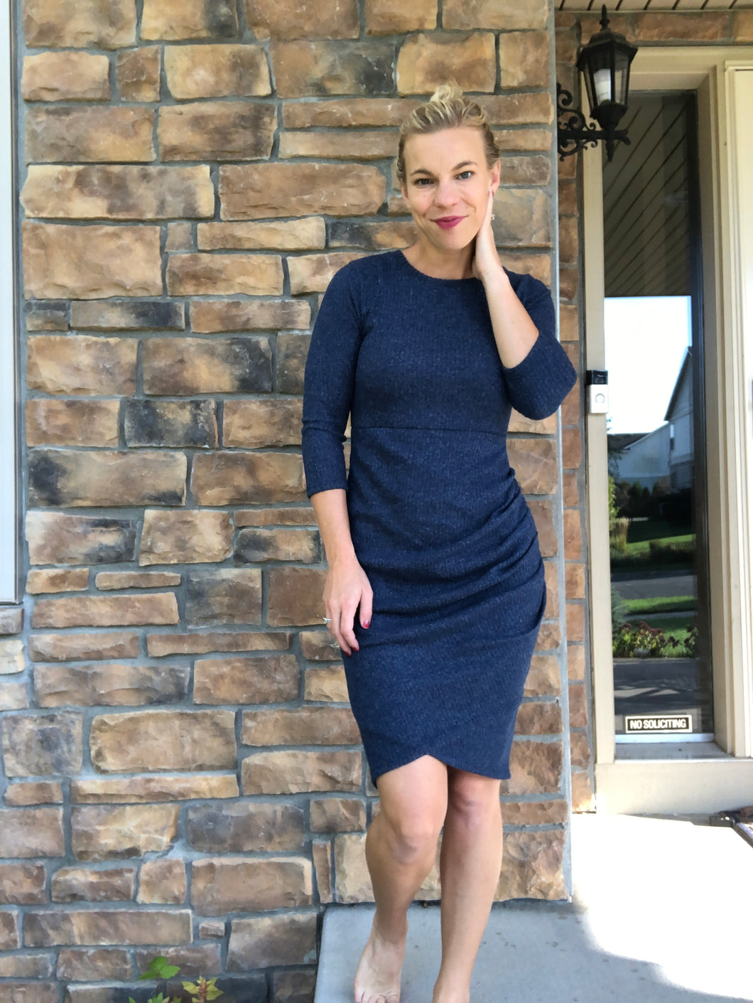 Navy Side Shirred 3/4 sleeve dress