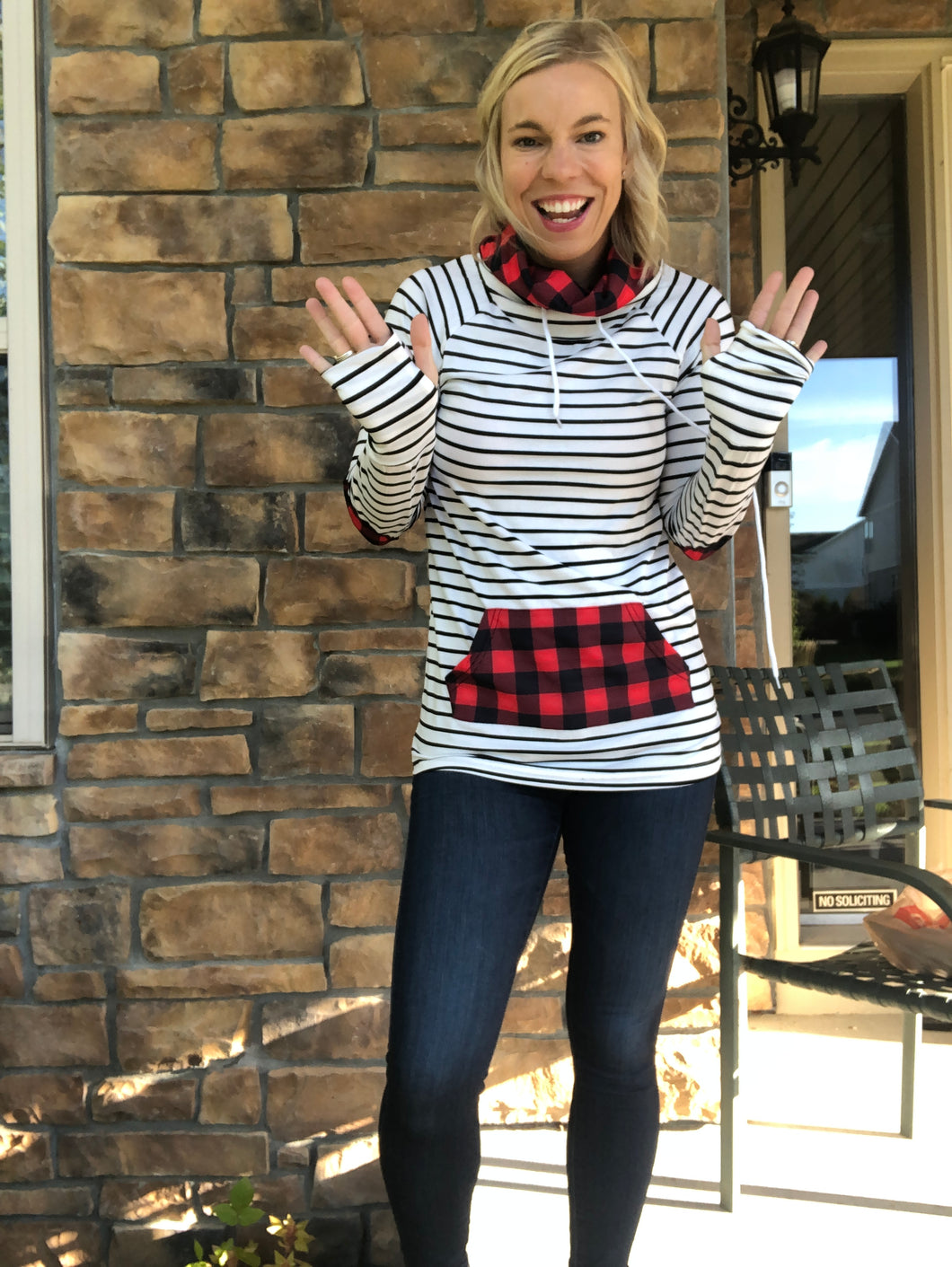 Funnel neck white and black stripe with buffalo plaid