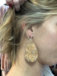 Cork earrings with silver flecks