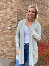 Load image into Gallery viewer, Light sage cardigan with lace detail
