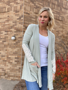 Light sage cardigan with lace detail