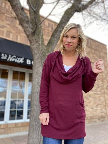 Maroon cowl neck sweater- 2 way