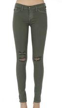 Load image into Gallery viewer, Dark Green Distressed Jeggings