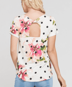 Polka dot floral tee with back detail