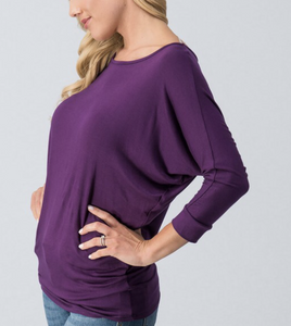 Dolman sleeve top with rouched bottom