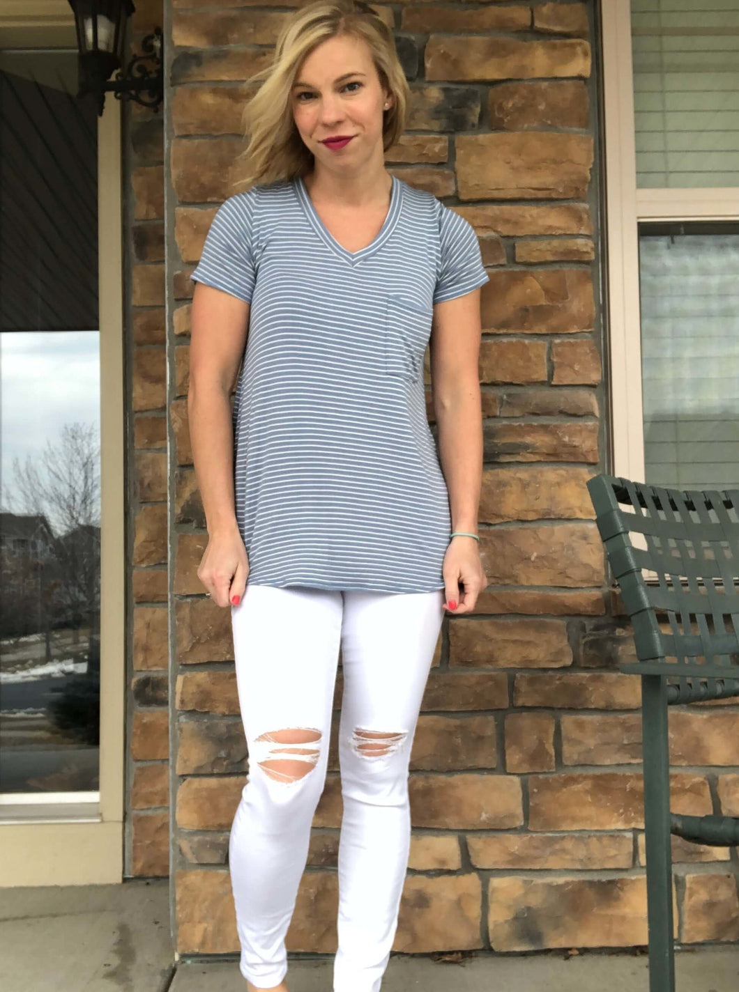 Light blue stripe top with chest pocket