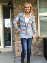 Load image into Gallery viewer, Grey Stripe snap cardigan