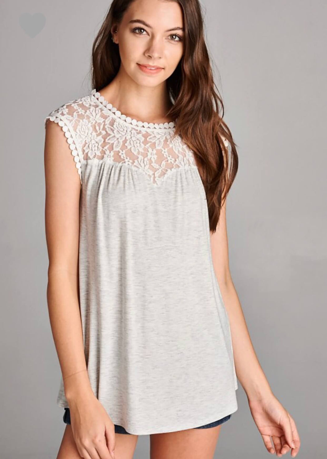 Lace yolk grey tank top