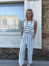 Load image into Gallery viewer, Cropped Grey Stripe Romper
